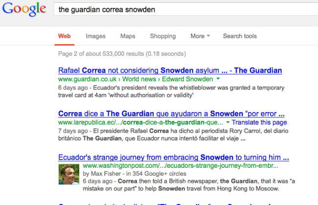 Guardian Correa Snowden in Google 7 July 2013