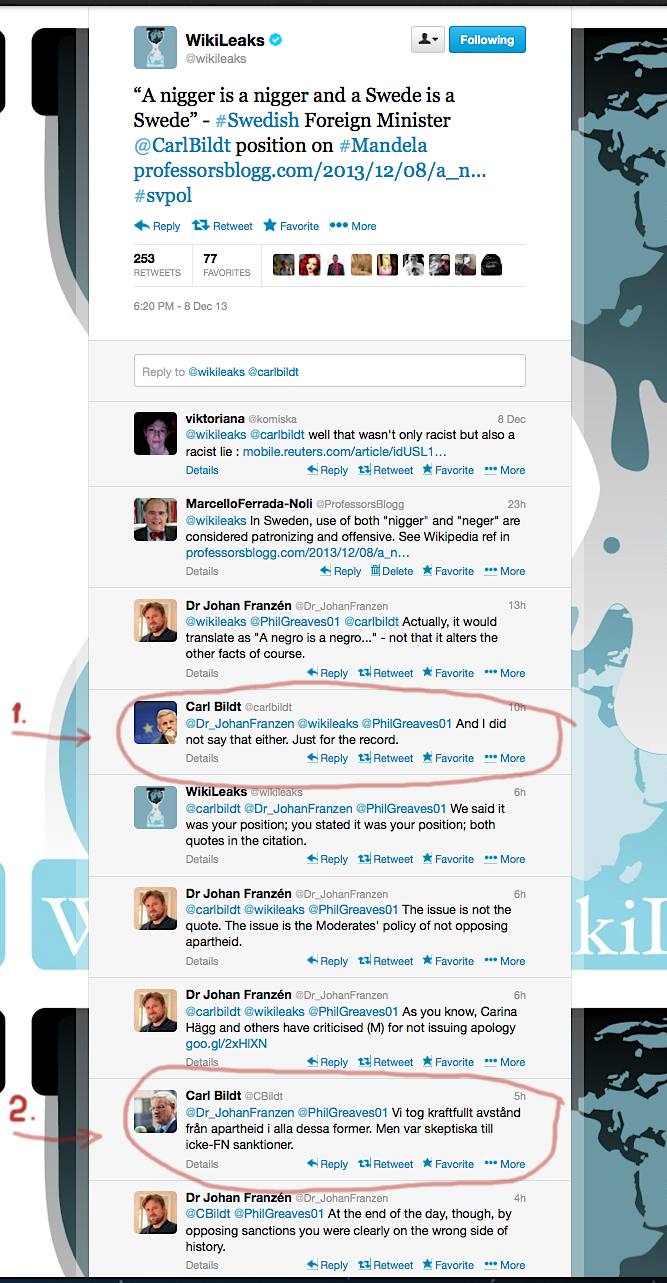 WL retweet cbildt profeblgg 'nigger' 8 dec 2013 marked Bildt