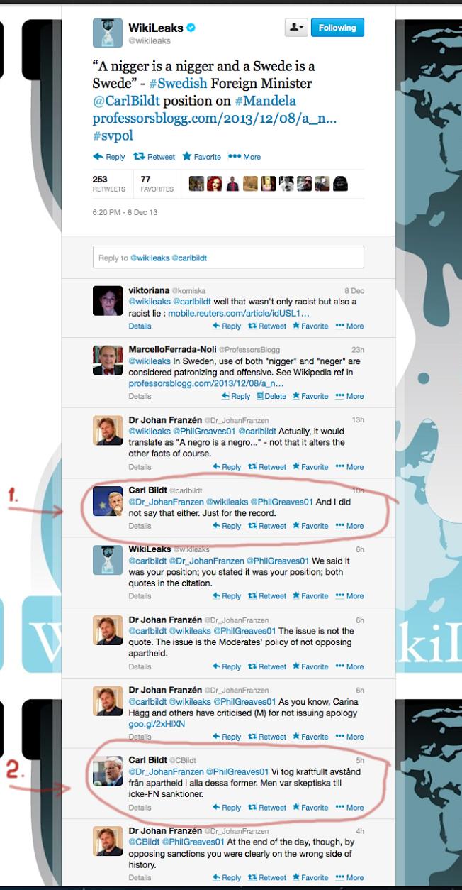 WL retweet cbildt profeblgg 'nigger' 8 dec 2013 marked Bildt