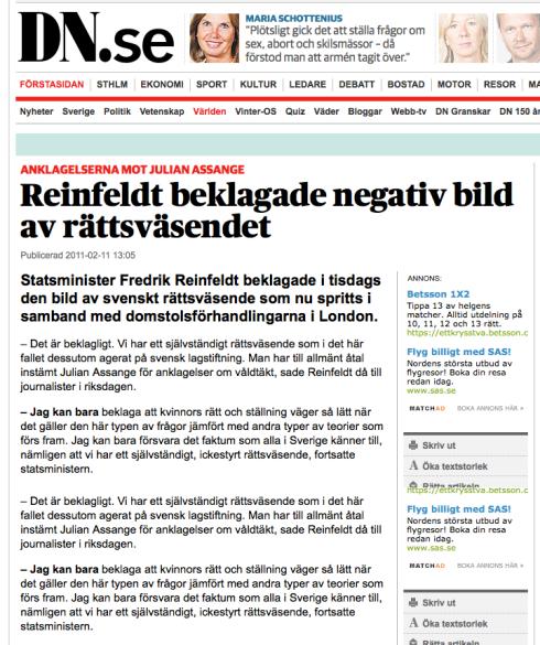 PM Reinfeldt i DN - Assange 'åtal'
