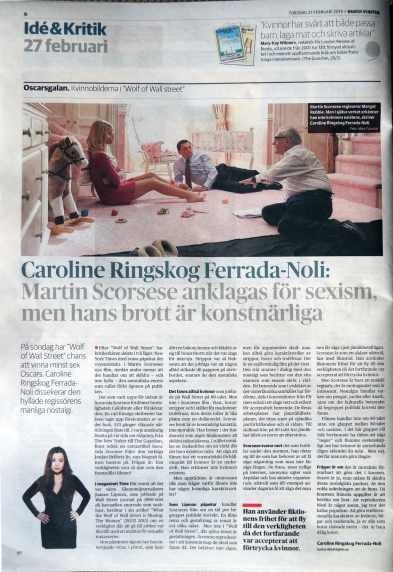 Caroline's article in DN 27 Feb 2014
