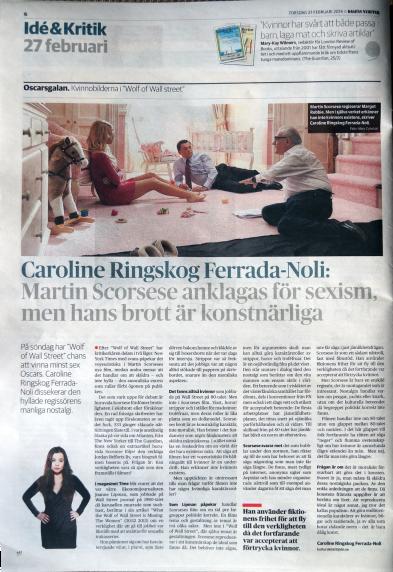 Caroline's article in DN 27 Feb 2014