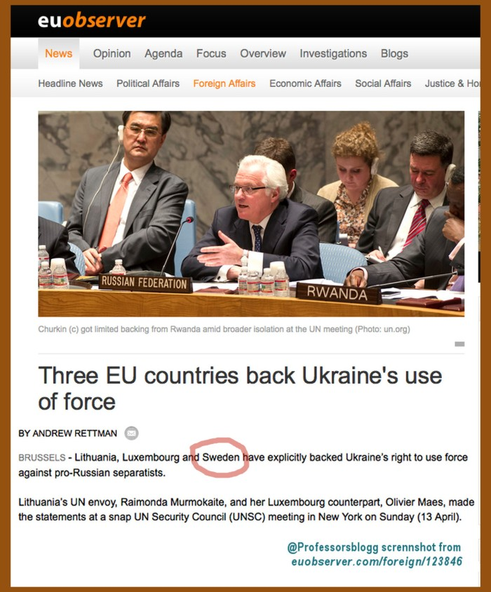 Sverige stöder Ukraina användning av våld