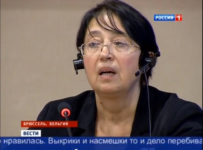 Historian Olena Radzikhovska testifying in Brussels on the Odessa massacre