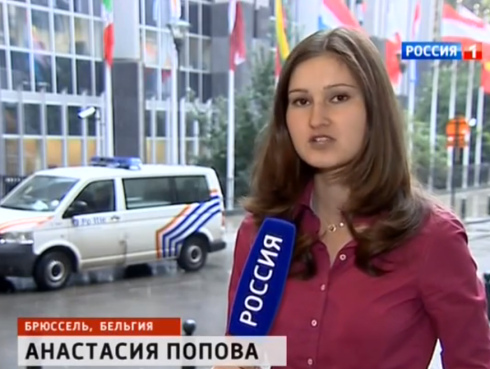 Journalist Anastasia Popova reporting from Brussels on the Odessa masacre hearing