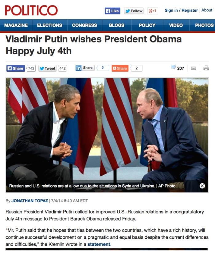 Putin wishes Happy 4th July