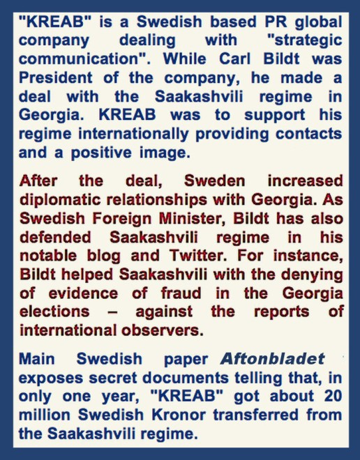 Aftonbladet on georgia ex-minister acussation on Bildt