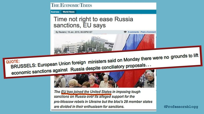 EU sanctions on Russia NOT lifted