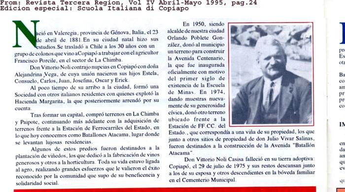 Genovés Vittorio Noli, benefactor de Copiapó