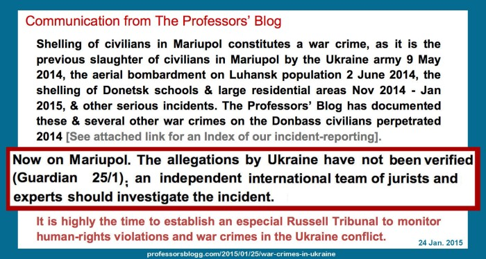 statement by the professors' blogg on mariupol