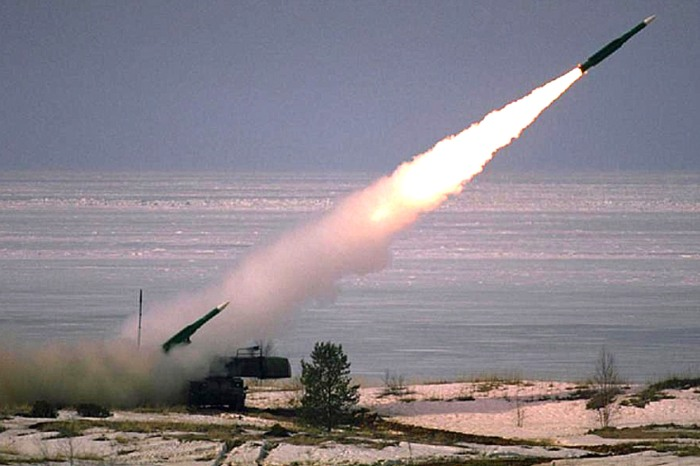 Buk anti aircraft missile launch.