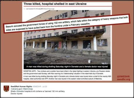 hospital shelled in donetsk