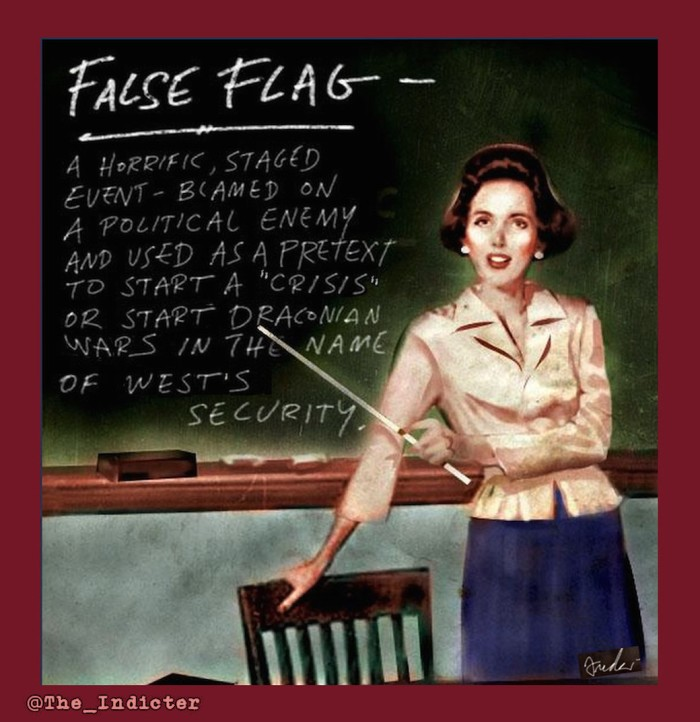 false flag, falseflag. the indicter