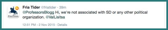 Fria Tider disclaimer on twitter