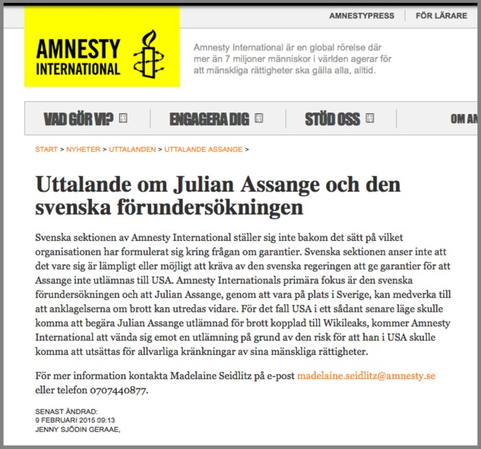 Amnesty Sweden on Assange