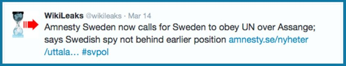 WL tweet on 'earlier position' Amnesty Sweden