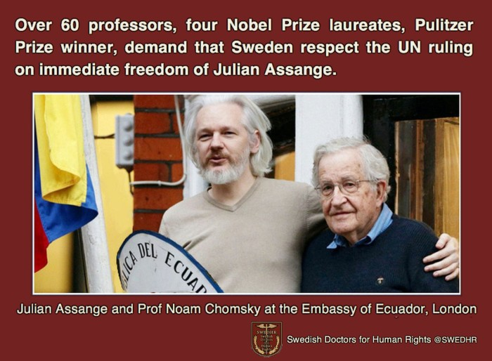 SWEDHR -Over 60 pofessors, Nobel Prize laureates, Pulitwer Prize winner, demand Assange's freedom